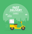 delivery ride scooter motorcycle city building vector image vector image