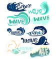 different types of ocean waves water design vector image vector image