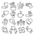 donate line icons set on white background vector image