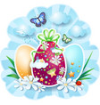 easter background with eggs and butterflies vector image vector image