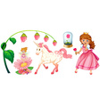 Fairytales set with princess and unicorn vector image vector image
