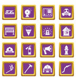 fireman tools icons set purple vector image vector image