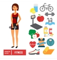 Fitness character set icons vector image