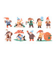 happy cute little gnomes in autumn funny bearded vector image vector image