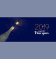 happy new year 2019 gold glitter champagne bottle vector image