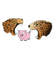 hungry leopard and tiger want to eat a vector image vector image