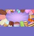 ice cream banner horizontal cartoon style vector image vector image