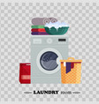 laundry room with washing machine powder basket vector image vector image