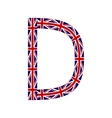 Letter D made from United Kingdom flags vector image vector image