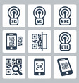 mobile network and qr-code related icons set vector image