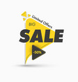 modern yellow triangular sticker on leg vector image