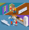neighbors relations isometric banners vector image vector image