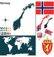 Norway map world vector image vector image