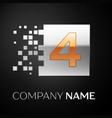 number four logo symbol in golden-silver square vector image vector image