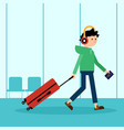 passenger dragging luggage and prepare for travel vector image vector image