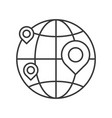 pin on globe location or branch business icon vector image vector image