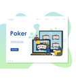 poker website landing page design template vector image vector image