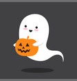 pumpkin and kawaii flying ghost in comic style vector image vector image