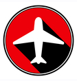 red information icon - white airplane vector image vector image