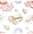seamless hand drawn seashells and crabs pattern vector image vector image