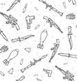 Seamless pattern with different weapon scattered vector image