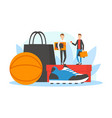 seasonal sale shopping men with huge shopping vector image