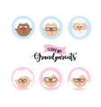 set avatar grandparent head with hairstyle vector image