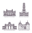 set isolated famous buildings belgium vector image vector image