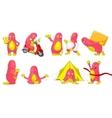 set of cute pink monsters cartoon vector image