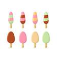 set of ice cream cartoon icon summer sundae logo vector image vector image