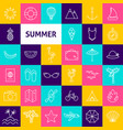 summer line icons vector image vector image