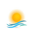 sunny beach waves icon vector image