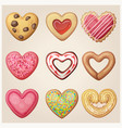 valentine day cookie set heart shaped pastry vector image vector image