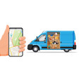 van with household items smartphone with map vector image