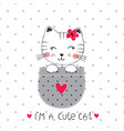 with cute cat vector image vector image