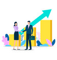 workers handshake and business growth graph vector image vector image