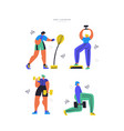 workout training hand drawn flat set vector image vector image
