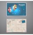Set two sides of a postcard to Ramadan Kareem vector image