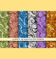 doodle wavy seamless pattern set vector image