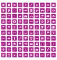 100 creative marketing icons set grunge pink vector image vector image