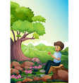 A man sitting above a stump vector image vector image