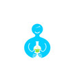abstract body holding blue science beaker logo vector image