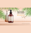 beauty product dispenser bottle with palm leaves vector image vector image