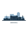bismarck skyline monochrome silhouette vector image vector image