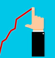 business growth upward graph and human hand vector image