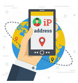 businessman hand with smart phone and ip address vector image vector image