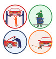 car repair and maintenance vehicle workshop vector image vector image