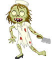cartoon zombie nurse on white background vector image vector image