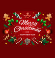 christmas greeting card with calligraphic season vector image