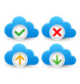 cloud database icon set with approved verified vector image vector image